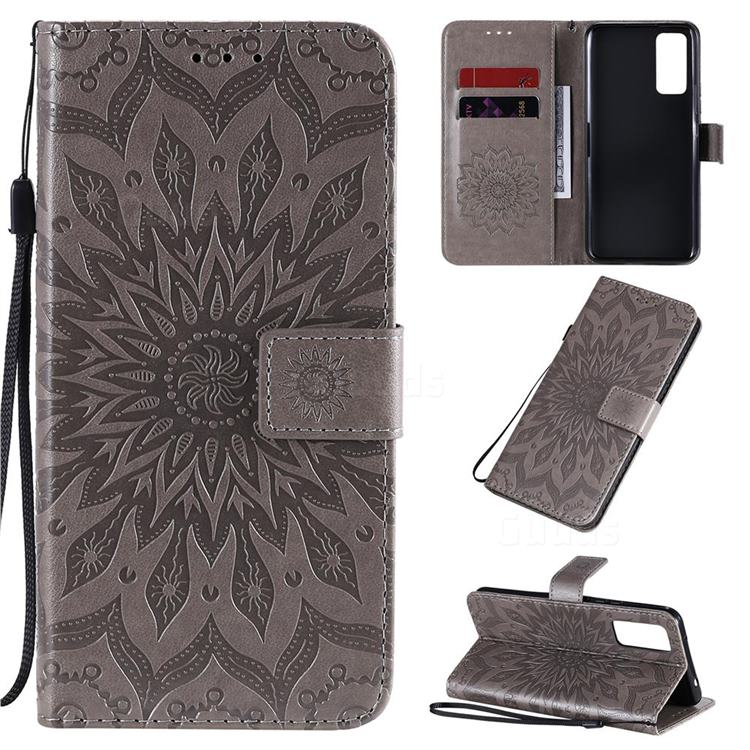 Embossing Sunflower Leather Wallet Case for Huawei Honor 30 - Gray