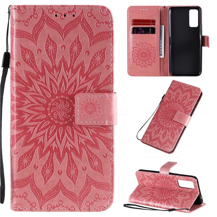 Embossing Sunflower Leather Wallet Case for Huawei Honor 30 - Pink