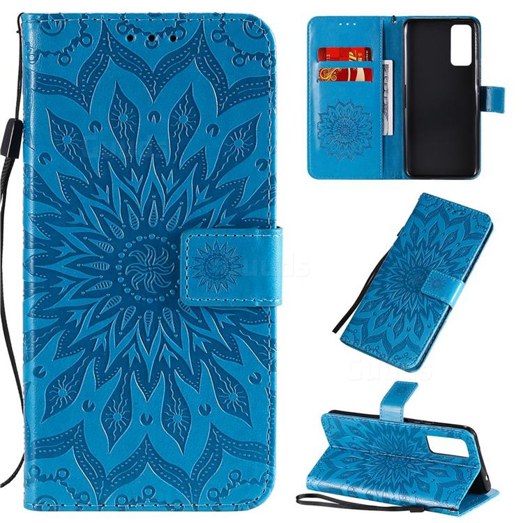 Embossing Sunflower Leather Wallet Case for Huawei Honor 30 - Blue