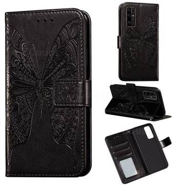 Intricate Embossing Vivid Butterfly Leather Wallet Case for Huawei Honor 30 - Black