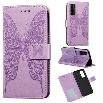 Intricate Embossing Vivid Butterfly Leather Wallet Case for Huawei Honor 30 - Purple