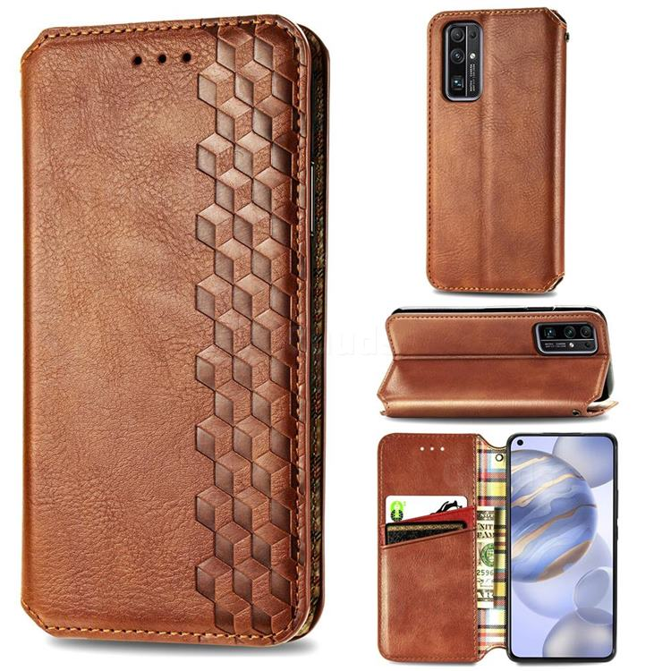 Ultra Slim Fashion Business Card Magnetic Automatic Suction Leather Flip Cover for Huawei Honor 30 - Brown