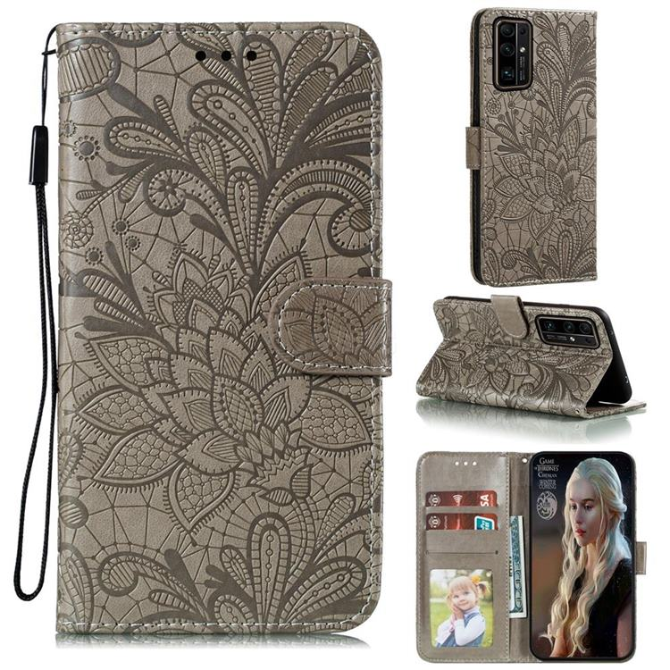 Intricate Embossing Lace Jasmine Flower Leather Wallet Case for Huawei Honor 30 - Gray