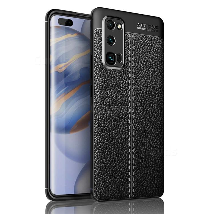 Luxury Auto Focus Litchi Texture Silicone TPU Back Cover for Huawei Honor 30 Pro - Black