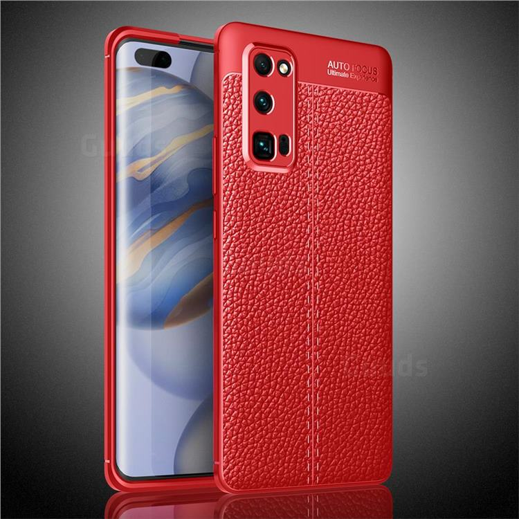 Luxury Auto Focus Litchi Texture Silicone TPU Back Cover for Huawei Honor 30 Pro - Red