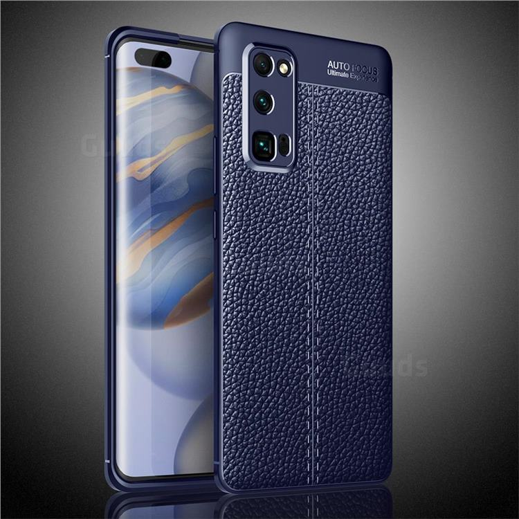 Luxury Auto Focus Litchi Texture Silicone TPU Back Cover for Huawei Honor 30 Pro - Dark Blue