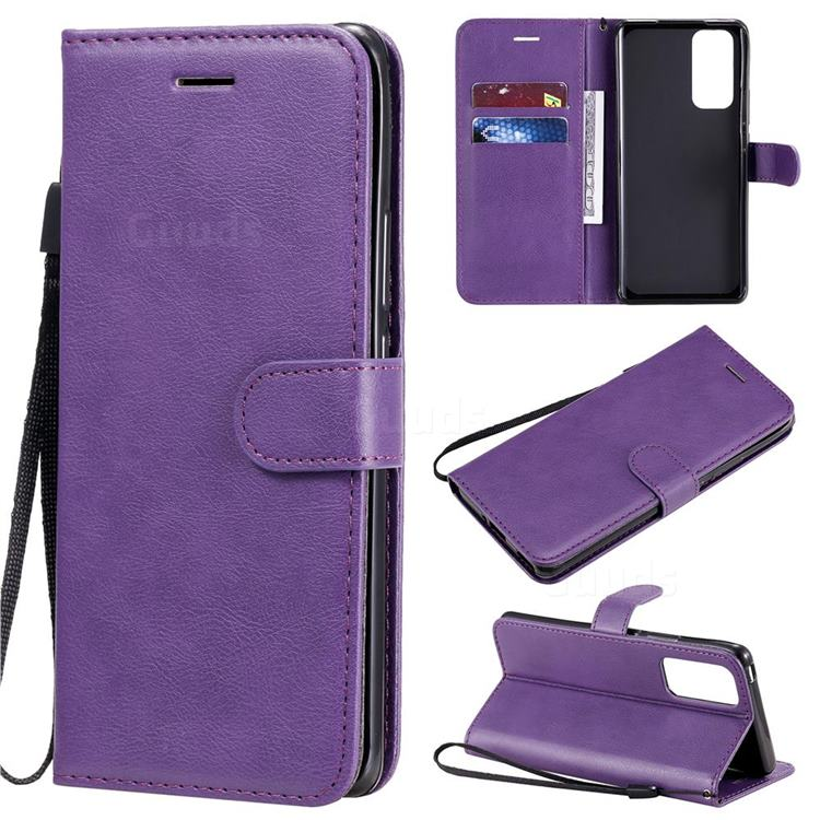 Retro Greek Classic Smooth PU Leather Wallet Phone Case for Huawei Honor 30 Pro - Purple