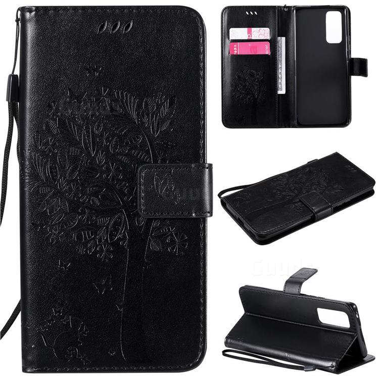 Embossing Butterfly Tree Leather Wallet Case for Huawei Honor 30 Pro - Black