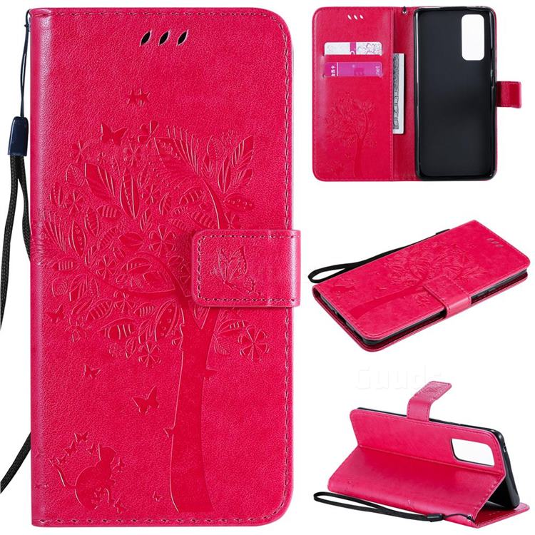 Embossing Butterfly Tree Leather Wallet Case for Huawei Honor 30 Pro - Rose