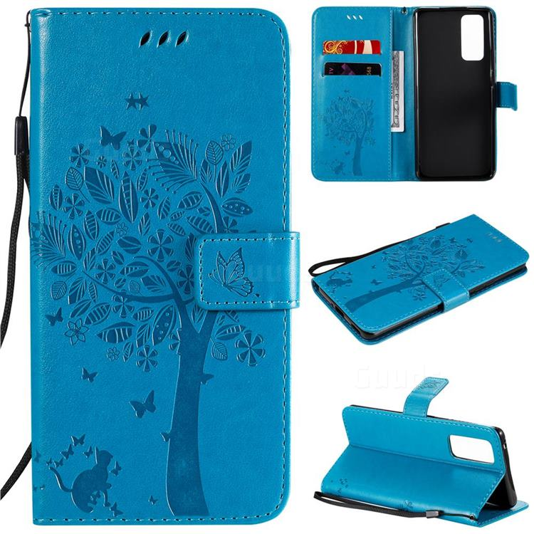 Embossing Butterfly Tree Leather Wallet Case for Huawei Honor 30 Pro - Blue