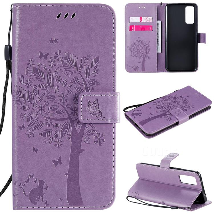 Embossing Butterfly Tree Leather Wallet Case for Huawei Honor 30 Pro - Violet