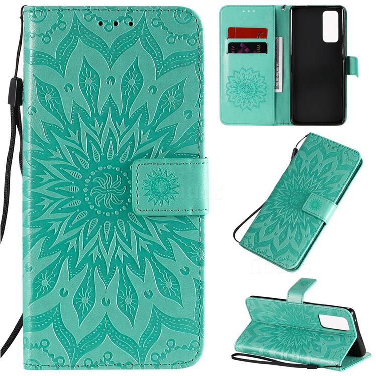 Embossing Sunflower Leather Wallet Case for Huawei Honor 30 Pro - Green