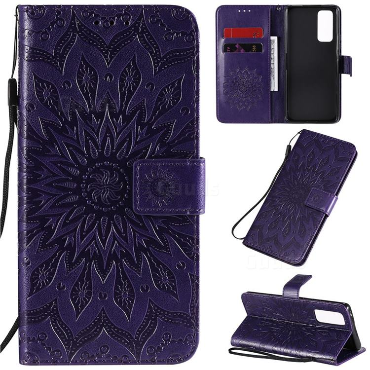 Embossing Sunflower Leather Wallet Case for Huawei Honor 30 Pro - Purple