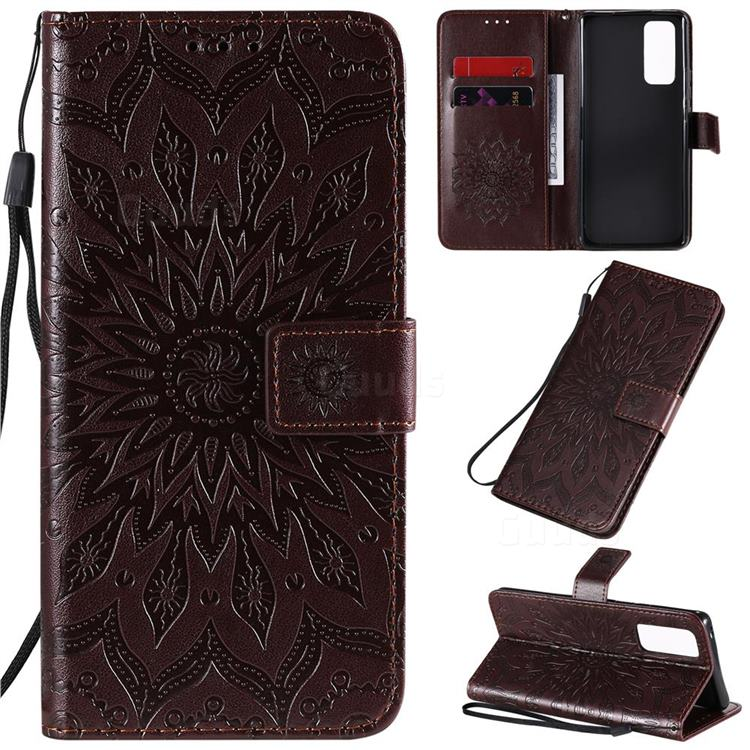 Embossing Sunflower Leather Wallet Case for Huawei Honor 30 Pro - Brown