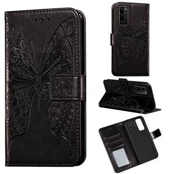Intricate Embossing Vivid Butterfly Leather Wallet Case for Huawei Honor 30 Pro - Black