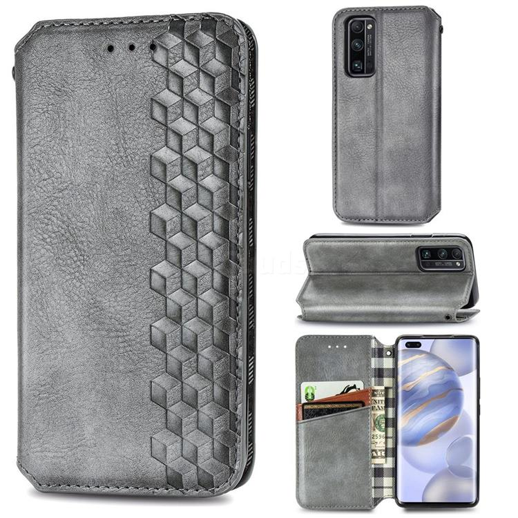 Ultra Slim Fashion Business Card Magnetic Automatic Suction Leather Flip Cover for Huawei Honor 30 Pro - Grey