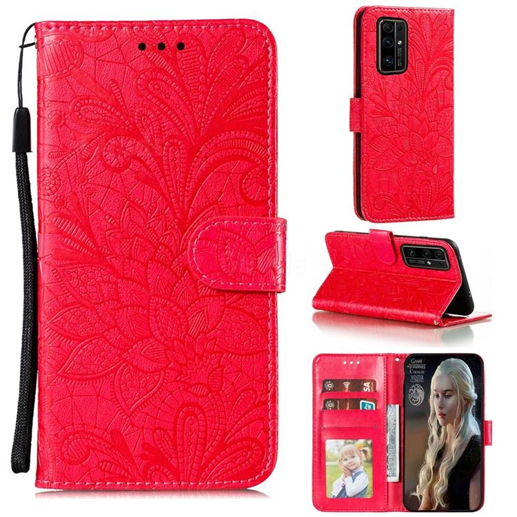 Intricate Embossing Lace Jasmine Flower Leather Wallet Case for Huawei Honor 30 Pro - Red