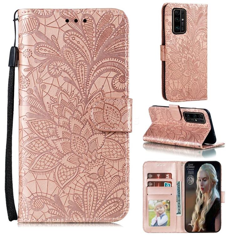 Intricate Embossing Lace Jasmine Flower Leather Wallet Case for Huawei Honor 30 Pro - Rose Gold