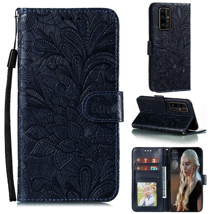 Intricate Embossing Lace Jasmine Flower Leather Wallet Case for Huawei Honor 30 Pro - Dark Blue