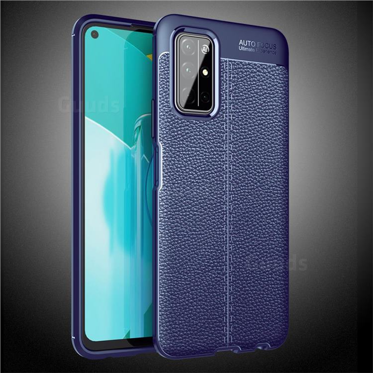 Luxury Auto Focus Litchi Texture Silicone TPU Back Cover for Huawei Honor 30s - Dark Blue