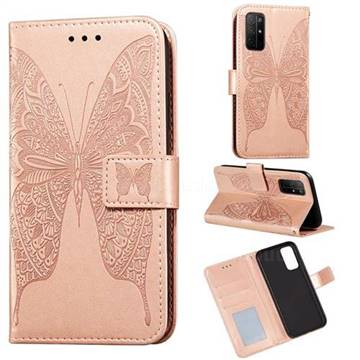 Intricate Embossing Vivid Butterfly Leather Wallet Case for Huawei Honor 30s - Rose Gold