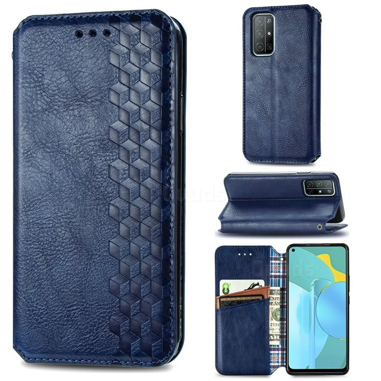 Ultra Slim Fashion Business Card Magnetic Automatic Suction Leather Flip Cover for Huawei Honor 30s - Dark Blue