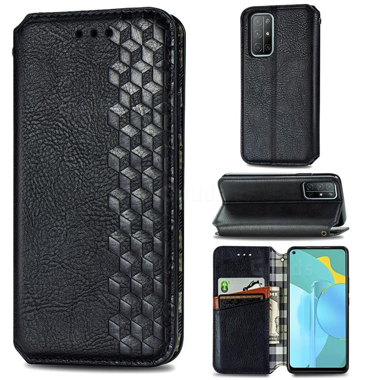 Ultra Slim Fashion Business Card Magnetic Automatic Suction Leather Flip Cover for Huawei Honor 30s - Black
