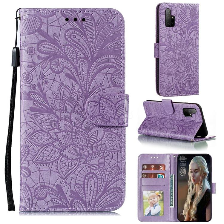 Intricate Embossing Lace Jasmine Flower Leather Wallet Case for Huawei Honor 30s - Purple