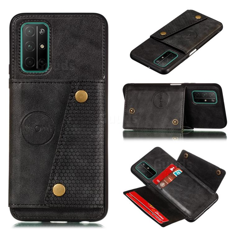 Retro Multifunction Card Slots Stand Leather Coated Phone Back Cover for Huawei Honor 30s - Black