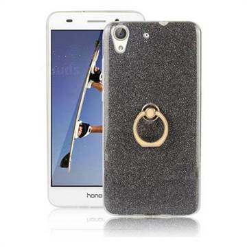 Luxury Soft TPU Glitter Back Ring Cover with 360 Rotate Finger Holder Buckle for Huawei Honor 5A - Black