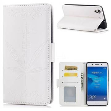 Intricate Embossing Maple Leather Wallet Case for Huawei Honor 5A - White