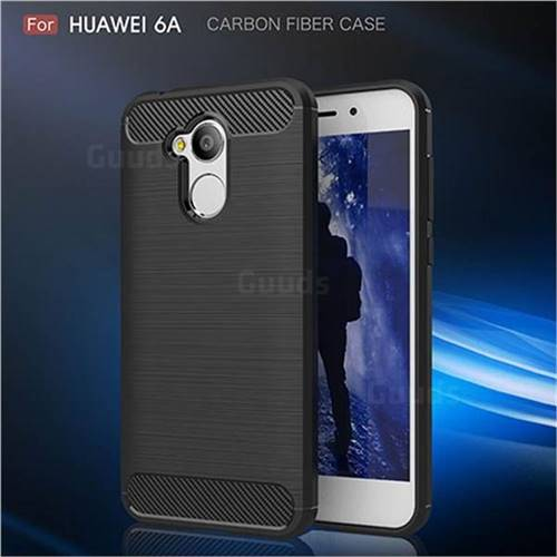 Luxury Carbon Fiber Brushed Wire Drawing Silicone TPU Back Cover for Huawei Honor 6A (Black)