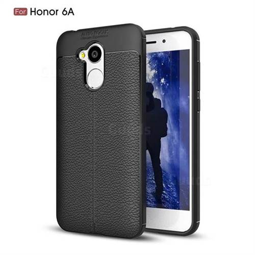 Luxury Auto Focus Litchi Texture Silicone TPU Back Cover for Huawei Honor 6A - Black
