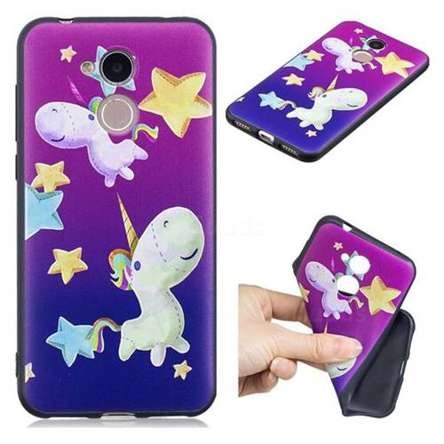 Pony 3D Embossed Relief Black TPU Cell Phone Back Cover for Huawei Honor 6A