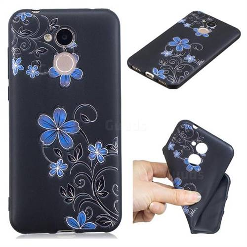 Little Blue Flowers 3D Embossed Relief Black TPU Cell Phone Back Cover for Huawei Honor 6A
