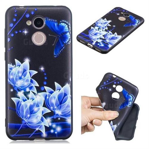 Blue Butterfly 3D Embossed Relief Black TPU Cell Phone Back Cover for Huawei Honor 6A