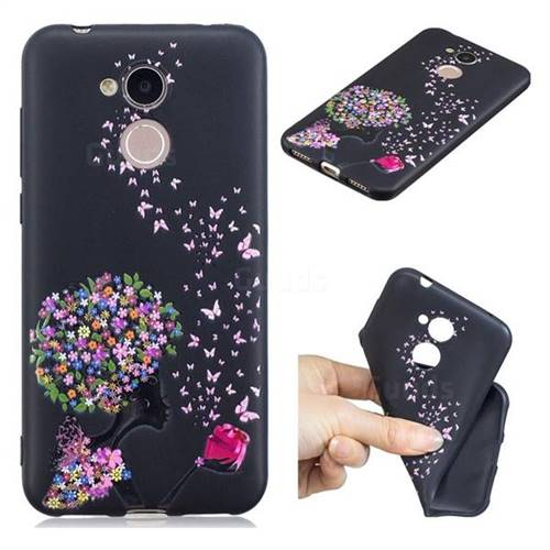 Corolla Girl 3D Embossed Relief Black TPU Cell Phone Back Cover for Huawei Honor 6A