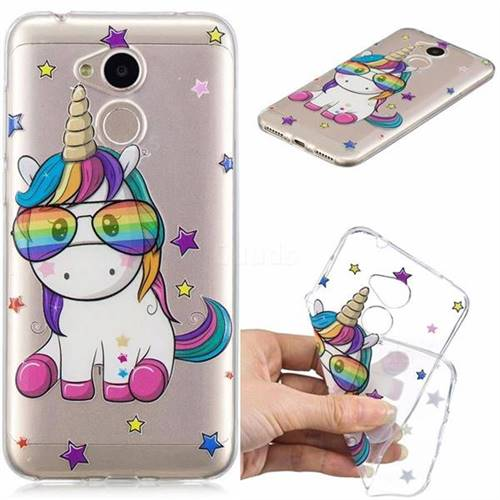 Glasses Unicorn Clear Varnish Soft Phone Back Cover for Huawei Honor 6A