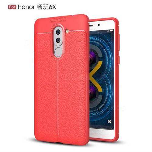 Luxury Auto Focus Litchi Texture Silicone TPU Back Cover for Huawei Honor 6X Mate9 Lite - Red