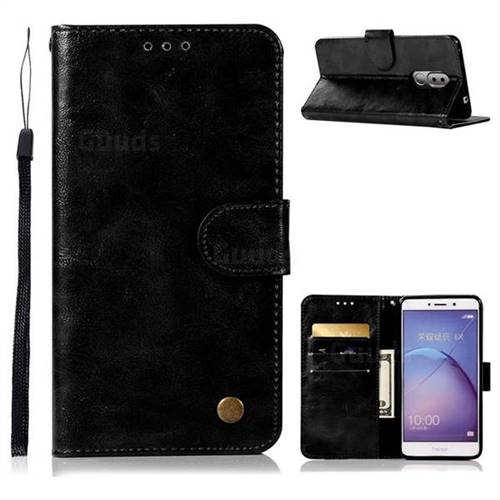 Luxury Retro Leather Wallet Case for Huawei Honor 6X Mate9 Lite - Black