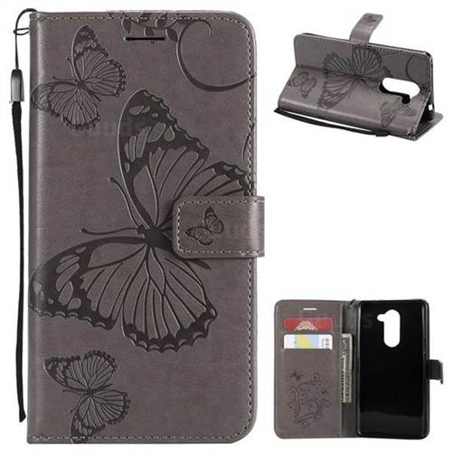 Embossing 3D Butterfly Leather Wallet Case for Huawei Honor 6X Mate9 Lite - Gray