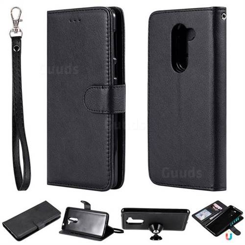 Retro Greek Detachable Magnetic PU Leather Wallet Phone Case for Huawei Honor 6X Mate9 Lite - Black