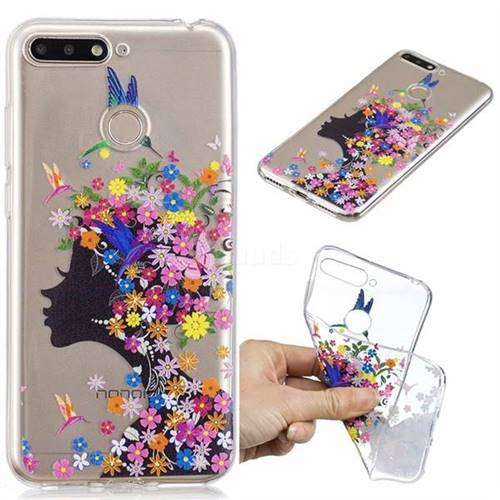 pick up 947e1 1911d Floral Bird Girl Super Clear Soft TPU Back Cover for Huawei Honor 7A Pro