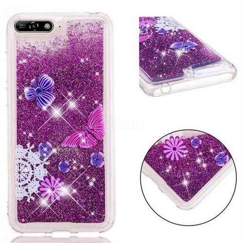 Purple Flower Butterfly Dynamic Liquid Glitter Quicksand Soft TPU Case for Huawei Honor 7A Pro