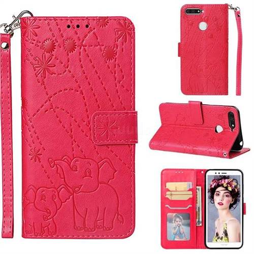 Embossing Fireworks Elephant Leather Wallet Case for Huawei Honor 7A Pro - Red