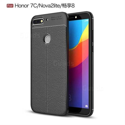 Luxury Auto Focus Litchi Texture Silicone TPU Back Cover for Huawei Honor 7C - Black