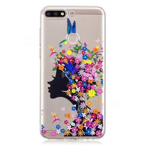 the latest 3f728 724a0 Floral Bird Girl Super Clear Soft TPU Back Cover for Huawei Honor 7C