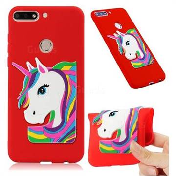 Rainbow Unicorn Soft 3D Silicone Case for Huawei Honor 7C - Red