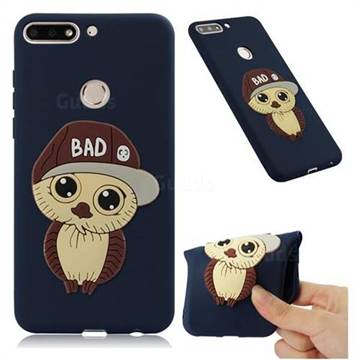 Bad Boy Owl Soft 3D Silicone Case for Huawei Honor 7C - Navy