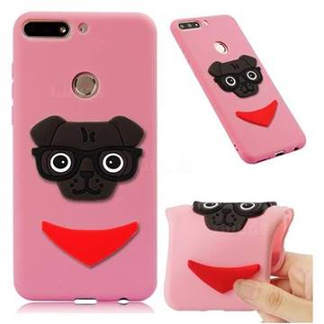 Glasses Dog Soft 3D Silicone Case for Huawei Honor 7C - Pink